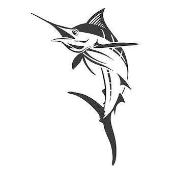 Hand drawn marlin fish jump.