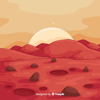 Hand drawn mars landscape background