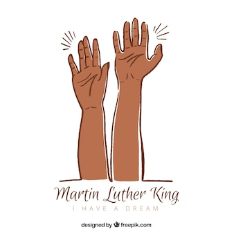Hand-drawn martin luther king day background with two hands