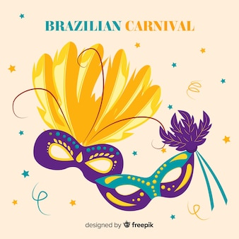 Hand drawn mask brazilian carnival background
