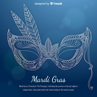 Hand drawn mask mardi grass background