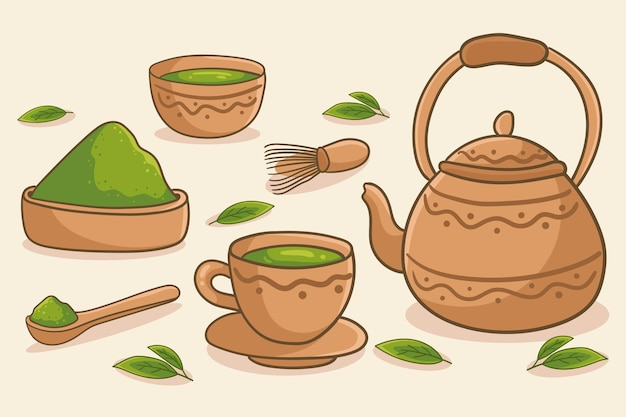 Hand drawn matcha tea - background