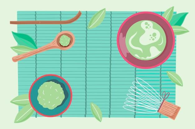Hand drawn matcha tea - background