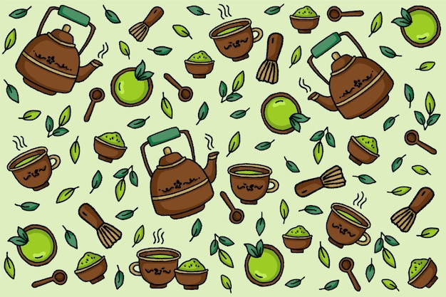Hand drawn matcha tea background