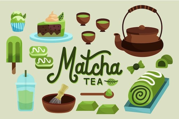 Hand drawn matcha tea wallpaper