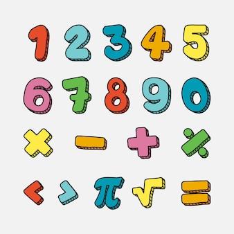 手描きの数学記号と数字