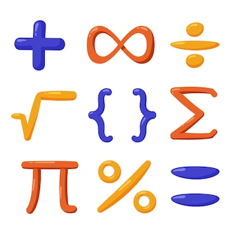 Hand drawn mathematical symbols