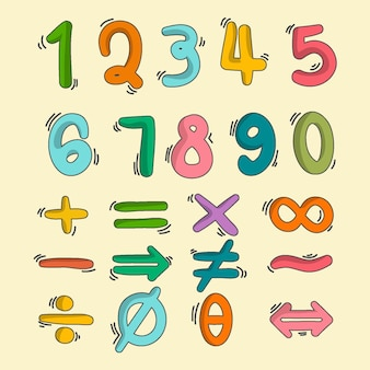 Hand drawn mathematical symbols