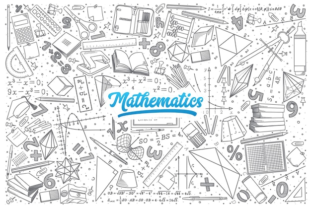 Hand drawn mathematics doodle set background with blue lettering