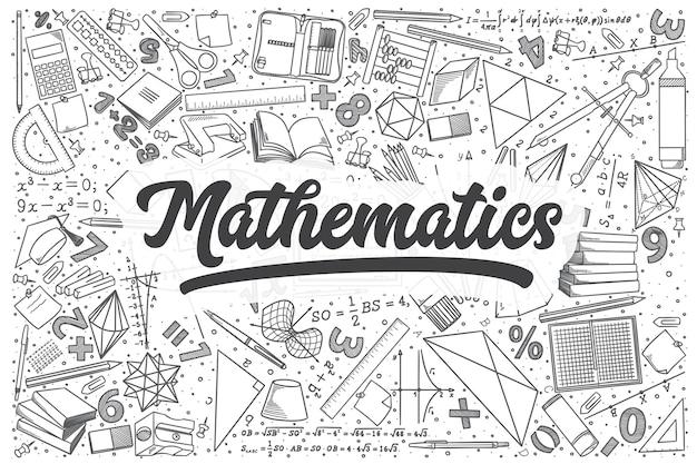 Набор рисованной математики каракули. надпись - математика