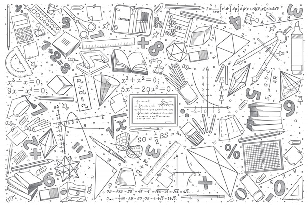 Hand drawn mathematics doodle set