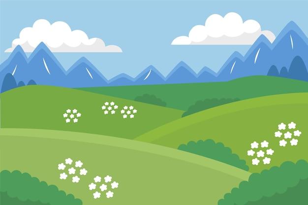 Hand drawn meadow landscape