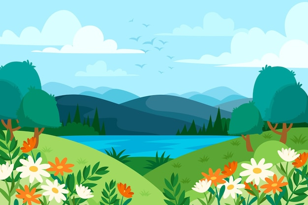 Hand drawn meadow with flowers landscape