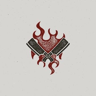 Hand drawn meat cleaver and knife symbols. vintage steak house symbol. letterpress effect with fire flame. good for t shirt prints. vector design isolated on white background.