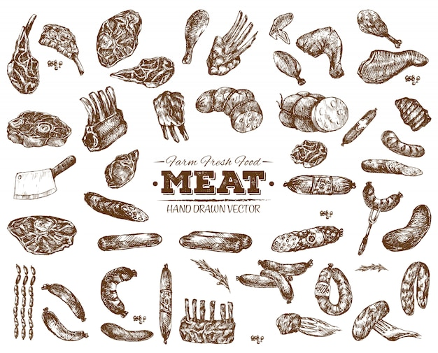 Hand drawn meat collection