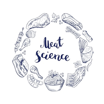 Hand drawn meat elements gathered in circle around lettering