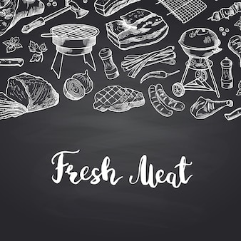 Hand drawn meat elements with lettering. banner meat menu for restaurant