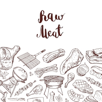 Hand drawn meat elements with lettering. sketch barbecue and grilled drawing meat