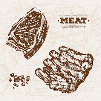 Hand drawn meat products collection