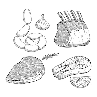 黒と白の色で手描きの肉ステーキ