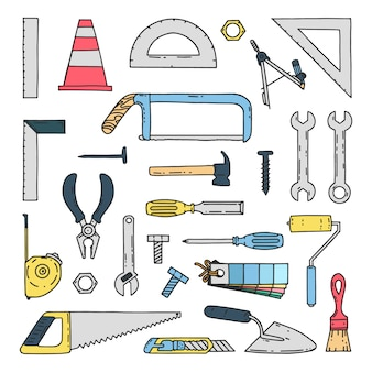 Hand drawn mechanical construction tools icons
