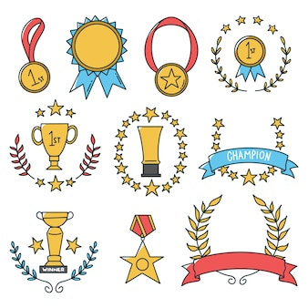 Hand drawn medal icon set