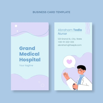 Hand drawn medical business card vertical