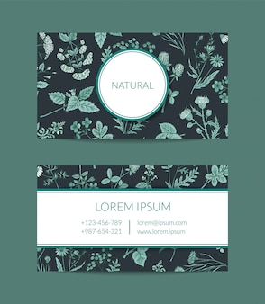 Hand drawn medical herbs business card template for farmacy illustration
