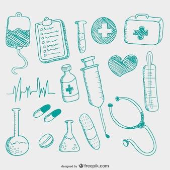 Icone mediche disegnate a mano