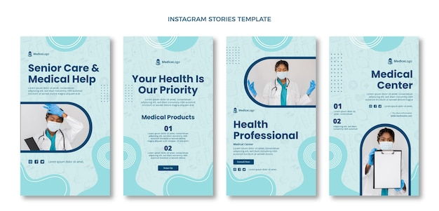 Hand drawn medical instagram stories template