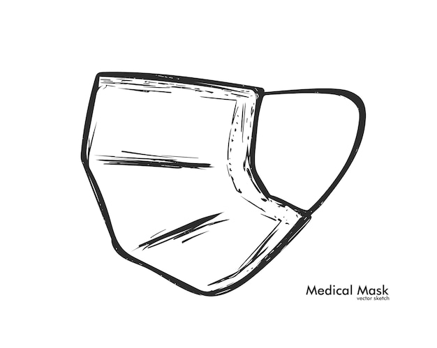 分離された手描きの医療マスク。スケッチデザイン