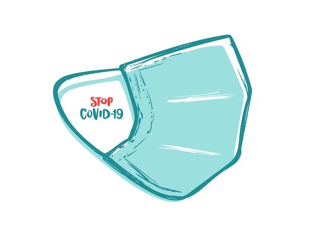 手描きの医療用マスク。 covid-19を停止