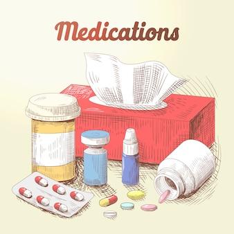 Рисованной иллюстрации лекарств