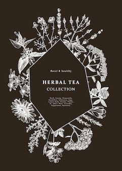Hand drawn medicinal herbs frame  on chalkboard.  flowers, weeds and meadows sketches. vintage summer plants template. botanical background with floral elements in engraved style.