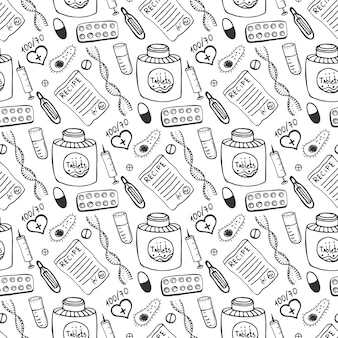 Hand drawn medicine seamless pattern. doddle sketch healthcare and medical background