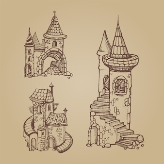 Hand drawn medieval castles set