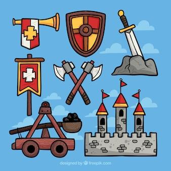 손으로 그린 중세 전쟁 요소