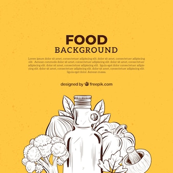 Hand drawn mediterranean food background