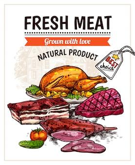 Нарисованный от руки плакат с блюдами