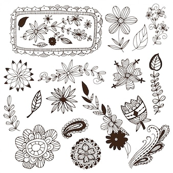 Hand drawn mehendi flowers and frames vector set