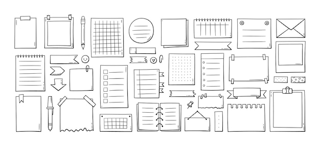 Нарисованные вручную листы бумаги для заметок, заметки, напоминания, список дел, липкая лента и стрелки. элементы журнала пули в стиле каракули. векторные иллюстрации на белом фоне