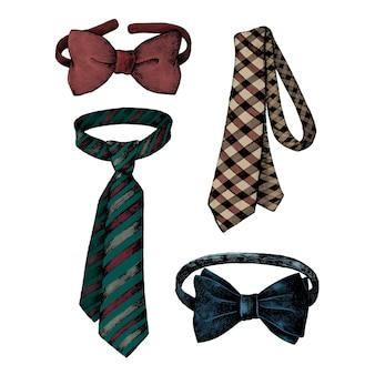 Hand drawn men ties and bow ties
