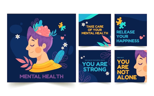 Hand drawn mental health instagram posts collection