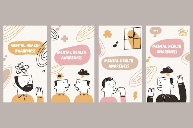 Raccolta di storie di instagram di salute mentale disegnate a mano