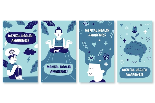 Hand drawn mental health instagram stories collection