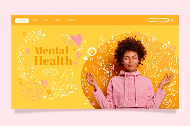 Hand drawn mental health landing page template with photo