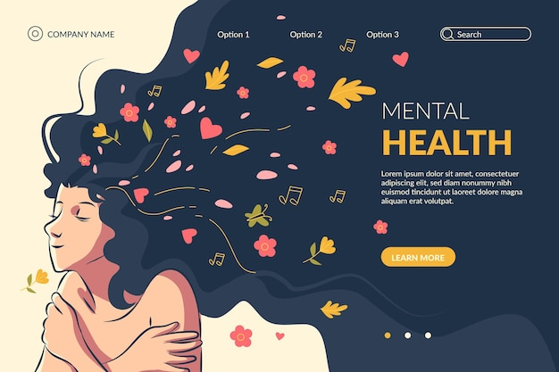 Hand drawn mental health landing page template