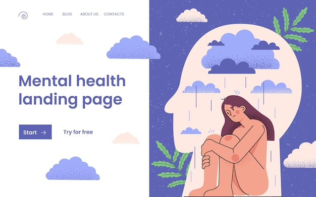 손으로 그린 정신 건강 방문 페이지 템플릿