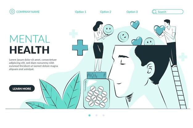 Нарисованная от руки целевая страница психического здоровья