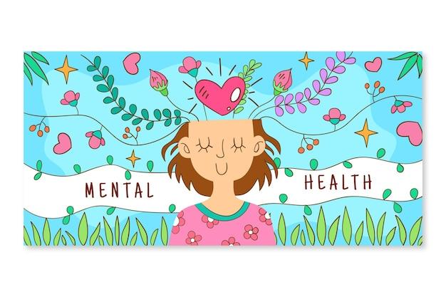 Hand drawn mental health social media cover template